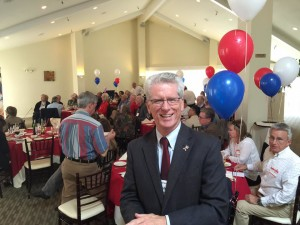 SPARC president John McDonnell of San Mateo gets ready to open SPARC's first ever Debate Watch Party at the Fremont Hills Country Club on Wednesday, September 16, 2015.